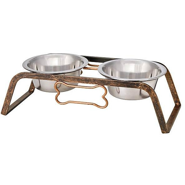 Loving Pets Black Label Aged Copper Rustic Bone Raised Double Diner