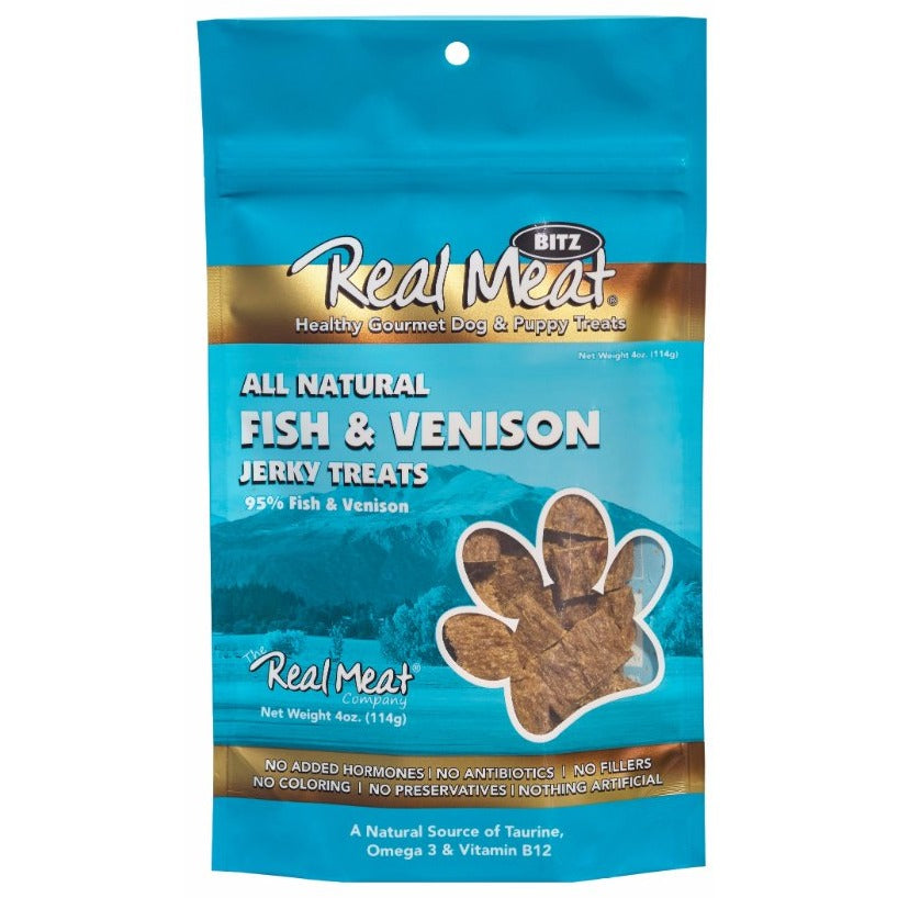 <b>5% OFF:</b> Real Meat Grain Free Fish & Venison Jerky For Dogs