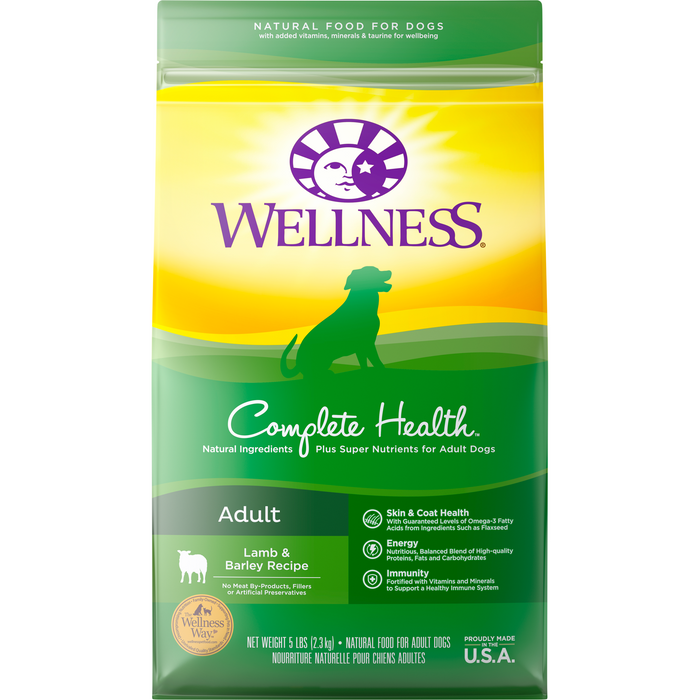 <b>20% OFF + FREE TREATS: </b> Wellness Complete Health Lamb, Barley & Salmon Meal Adult Dry Dog Food