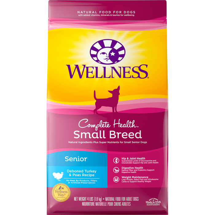 <b>20% OFF: </b> Wellness Complete Health Deboned Turkey & Peas Small Breed Senior Dry Dog Food