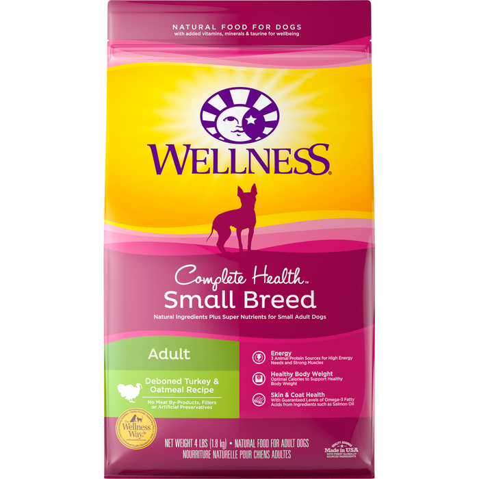 <b>20% OFF: </b> Wellness Complete Health Small Breed Deboned Turkey & Oatmeal Adult Dry Dog Food