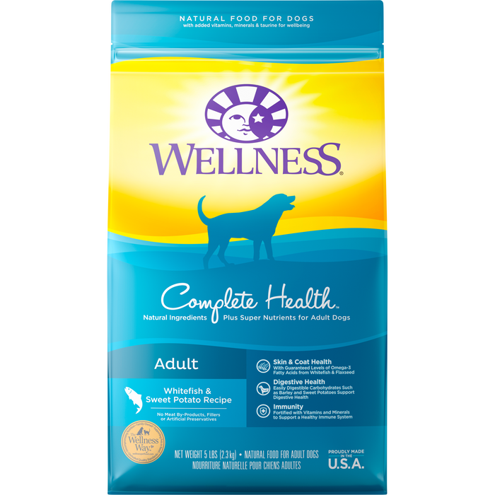 <b>20% OFF + FREE TREATS:</b> Wellness Complete Health White Fish & Sweet Potato Meal Adult Dry Dog Food