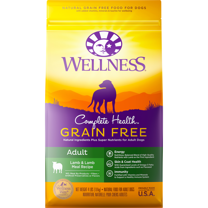 <b>20% OFF + FREE TREATS: </b> Wellness Complete Health Grain Free Lamb & Lamb Meal Adult Dry Dog Food