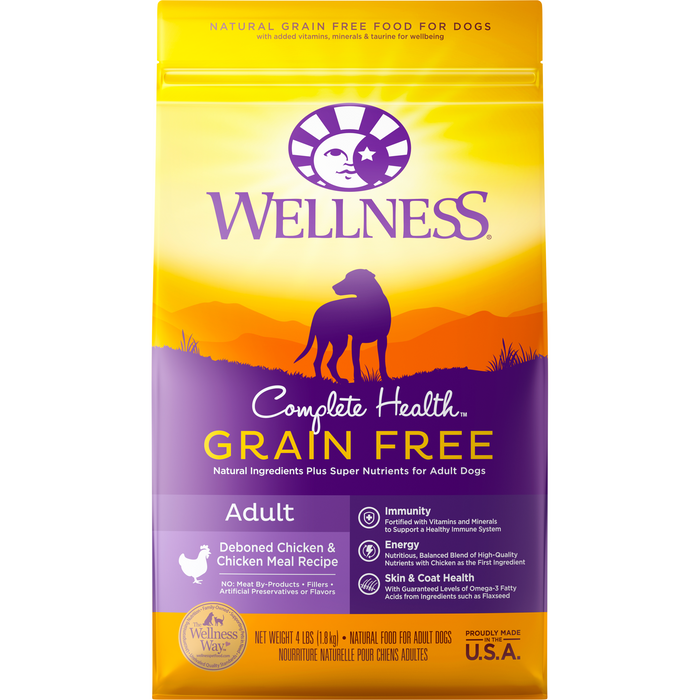 <b>20% OFF + FREE TREATS: </b> Wellness Complete Health Grain Free Deboned Chicken & Chicken Meal Adult Dry Dog Food