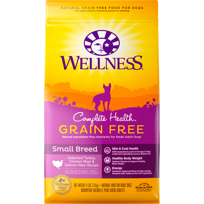 <b>20% OFF: </b> Wellness Complete Health Deboned Turkey, Chicken Meal & Salmon Meal Grain Free Small Breed Dry Dog Food