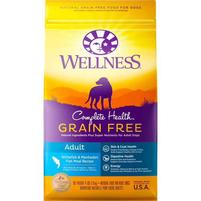 <b>20% OFF + FREE TREATS: </b> Wellness Complete Health Grain Free White Fish & Menhaden Meal Adult Dry Dog Food