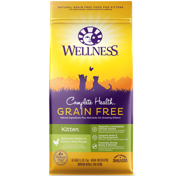 <b>20% OFF: </b> Wellness Complete Health Grain Free Deboned Chicken & Chicken Meal Kitten Dry Cat Food