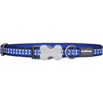 Red Dingo Reflective Bones Dark Blue Bucklebone Dog Collar