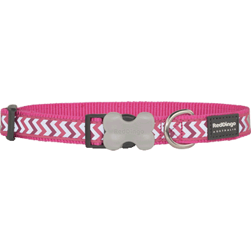 Red Dingo Reflective Ziggy Hot Pink Bucklebone Dog Collar