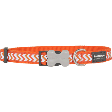 Red Dingo Reflective Ziggy Orange Bucklebone Dog Collar