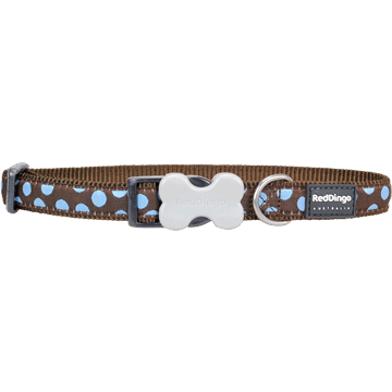 Red Dingo Blue Spots Brown Bucklebone Dog Collar