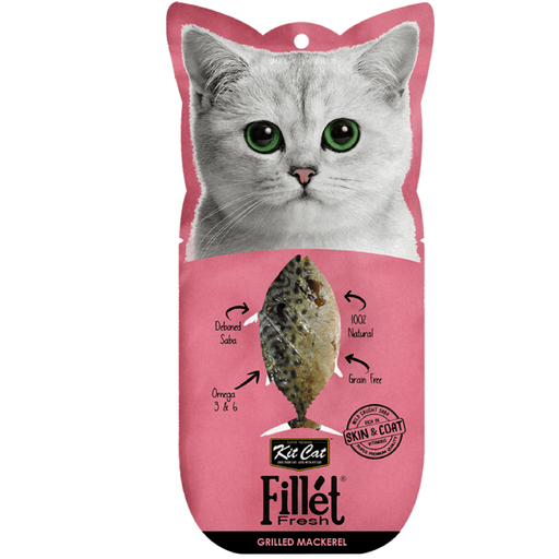 Kit Cat Fillet Fresh Grilled Mackerel (Skin & Coat + Vitamin) Cat Treats