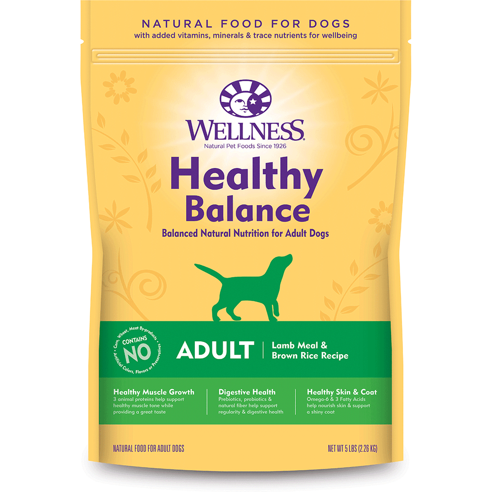 20% OFF: Wellness Healthy Balance Adult Lamb Meal & Brown Rice Recipe Dog Food
