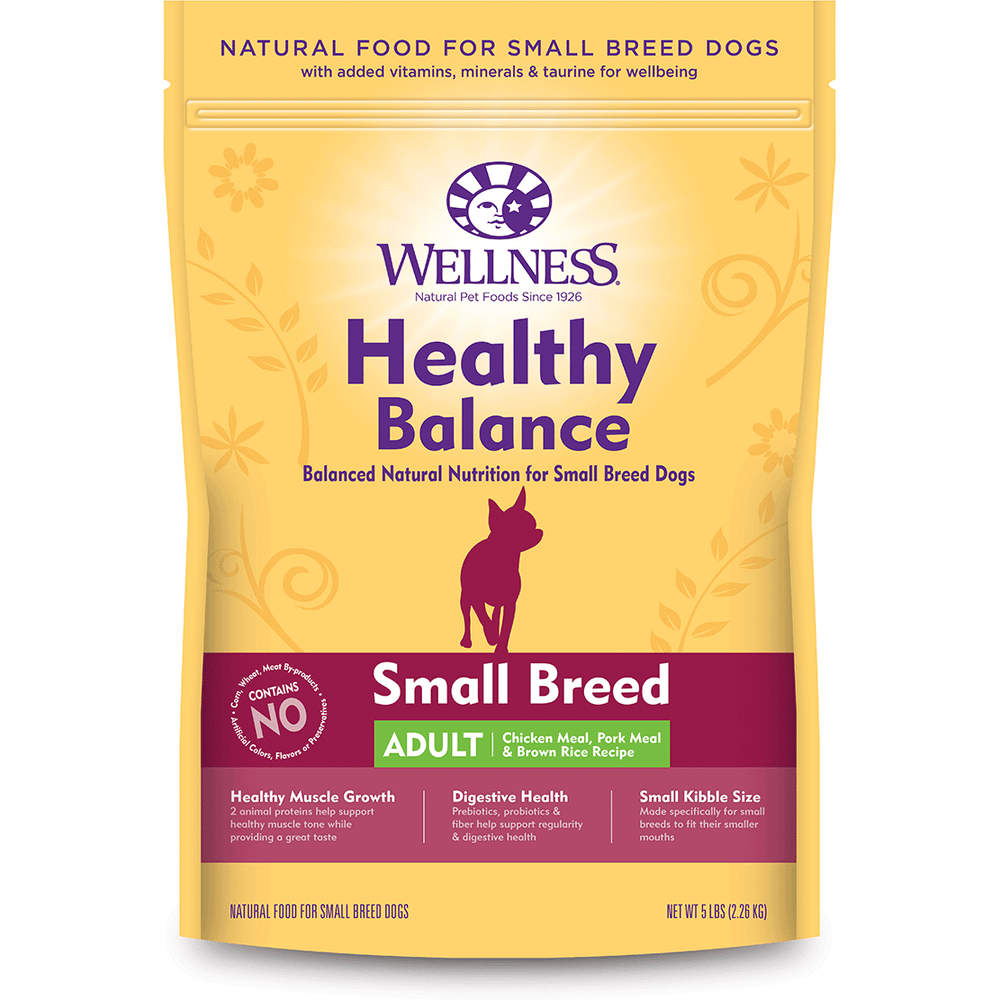 <b>20% OFF:</b> Wellness Healthy Balance Small Breed Adult Chicken Meal, Pork Meal & Brown Rice Recipe Dog Food