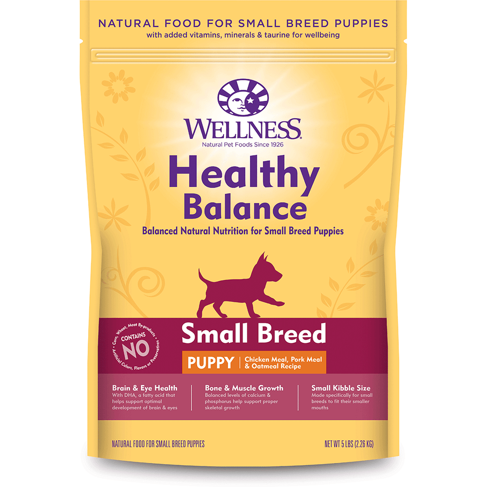 <b>20% OFF: </b> Wellness Healthy Balance Small Breed Puppy Chicken Meal, Pork Meal & Oatmeal Recipe Dog Food