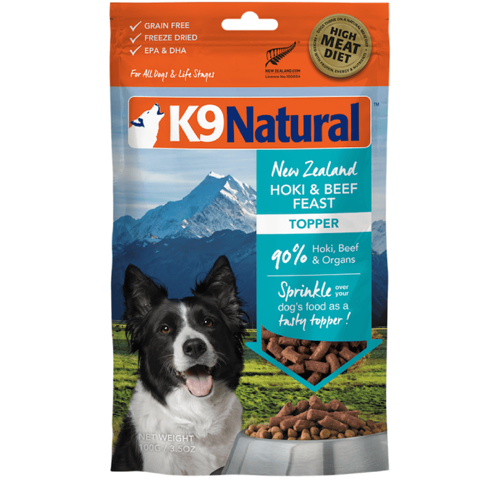 <b>20% OFF:</b> K9 Natural Freeze Dried Raw Hoki & Beef Feast Topper
