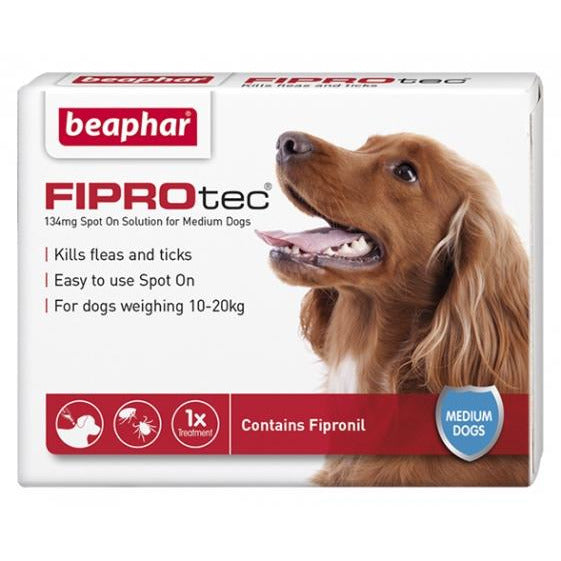Beaphar Flea & Tick Spot On Fiprotec (Fipronil) For Medium Dogs