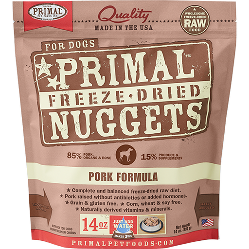 <b>2 FOR $88/4 FOR $159.90:</b>  Primal Freeze Dried Pork Formula Nuggets (14oz)