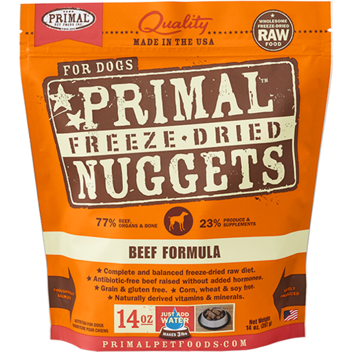 <b>2 FOR $88/4 FOR $159.90: </b> Primal Freeze Dried Beef Formula Nuggets (14oz)