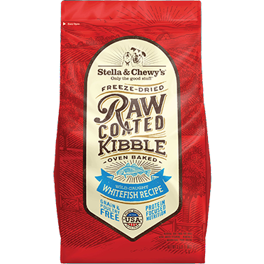 <b>15% OFF + FREE WET FOOD: </b> Stella & Chewy's Raw Coated Wild-Caught White Fish Recipe Baked Adult Dry Dog Food