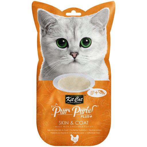 Kit Cat Purr Puree Plus+ Grain Free Chicken & Fish Oil (Skin & Coat Care) Cat Treats