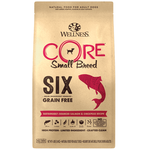 <b> 20% OFF:</b> Wellness CORE SIX Grain Free Small Breed Sustainably-Sourced Salmon & Chickpeas Recipe Dry Dog Food