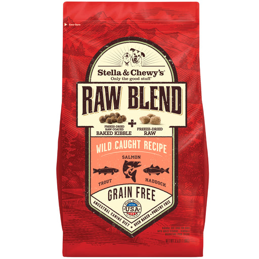 <b>15% OFF:</b> Stella & Chewy Raw Blend (Raw Coated Baked Kibble + Freeze-Dried Meal Mixers) Wild-Caught Recipe Adult Dry Dog Food