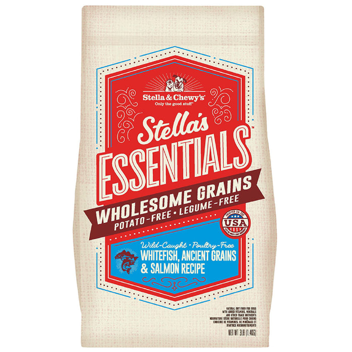 <b>15% OFF + FREE WET FOOD:</b> Stella & Chewy Stella's Essentials Wholesome Grains Wild-Caught White Fish, Ancient Grains & Salmon Recipe Dry Dog Food