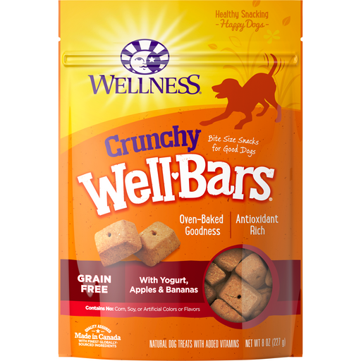 <b>10% OFF </b> Wellness Well Bars Grain Free Oven-Baked Crunchy Yogurt, Apples & Bananas Biscuits