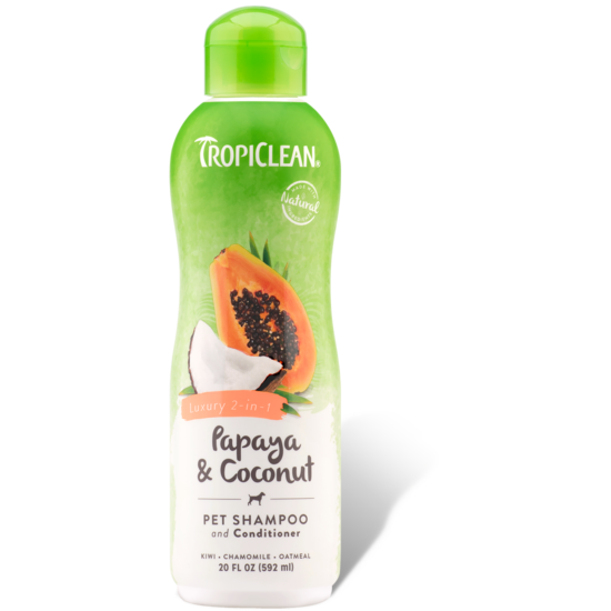 <b>15% OFF:</b> TropiClean Papaya & Coconut Luxury 2 -in- 1 Shampoo