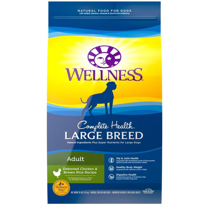 <b>20% OFF + FREE TREATS: </b> Wellness Complete Health Large Breed Deboned Chicken & Brown Rice RecipeAdult Dry Dog Food