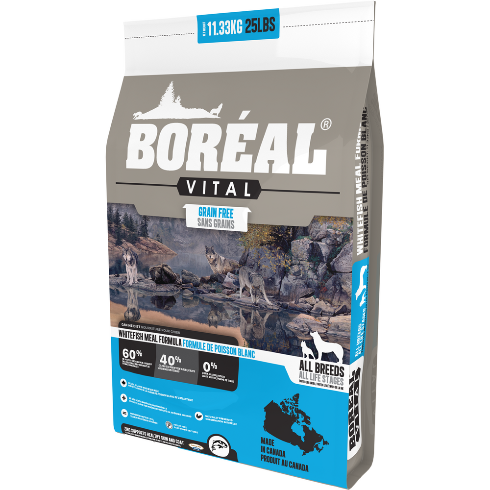 <b>20% OFF + FREE WET FOOD: </b> Boreal VITAL Grain Free All Breed White Fish Meal Dry Dog Food