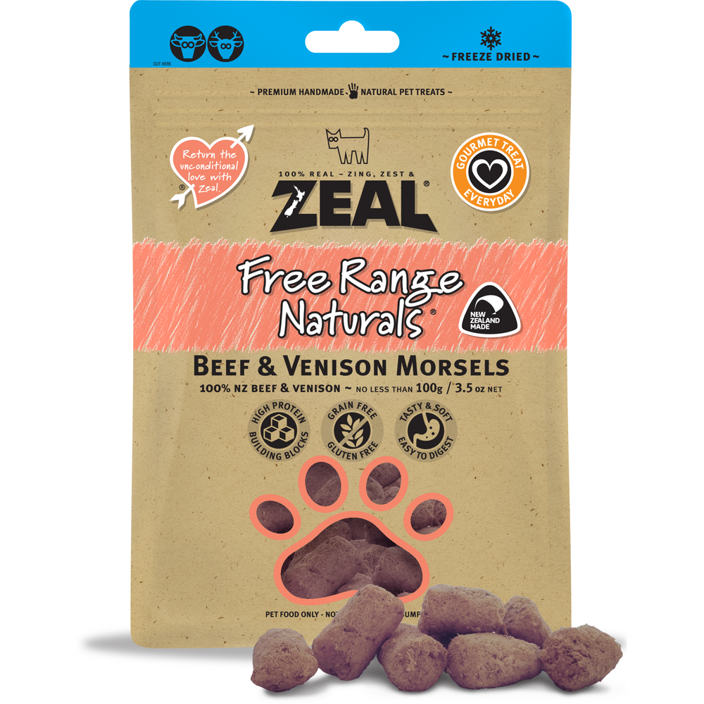 Zeal Free Range Naturals Freeze Dried Beef & Venison Morsels For Dogs & Cats