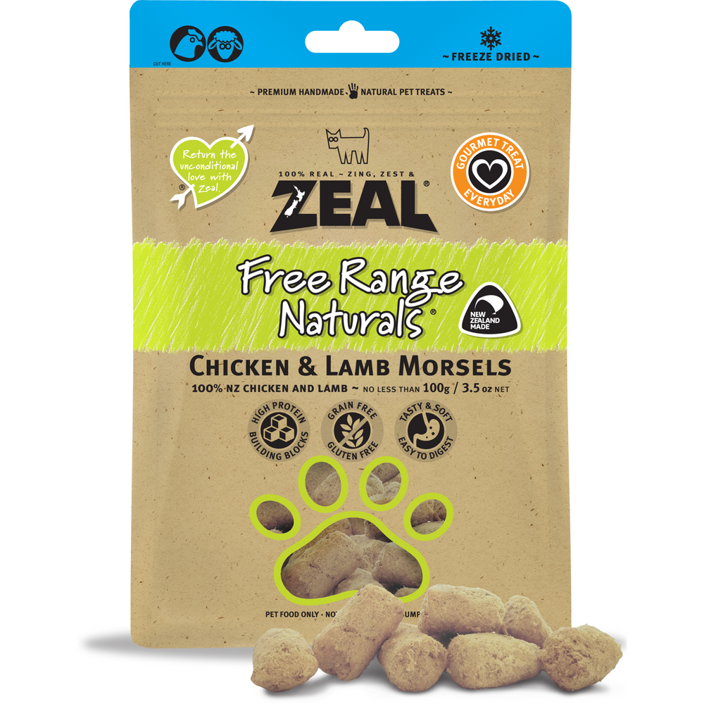 Zeal Free Range Naturals Freeze Dried Chicken & Lamb Morsels For Dogs & Cats
