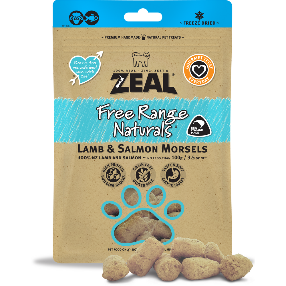 Zeal Free Range Naturals Freeze Dried Lamb & Salmon Morsels For Dogs & Cats