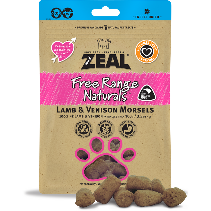 Zeal Free Range Naturals Freeze Dried Lamb & Venison Morsels For Dogs & Cats
