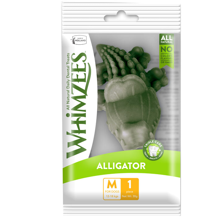 Whimzees Single Pack Alligator Medium Natural Dental Dog Chews (1pc)
