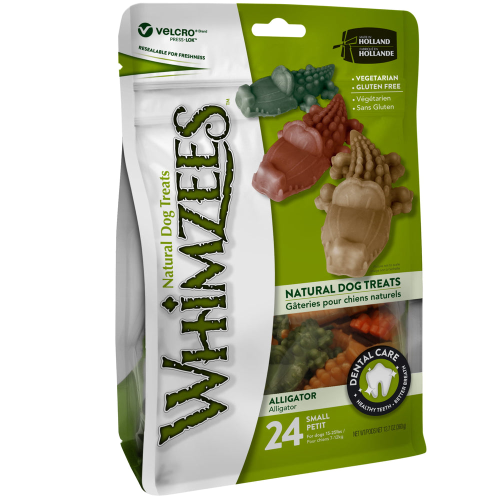 Whimzees Alligator Small Natural Dental Dog Chews (24pcs)