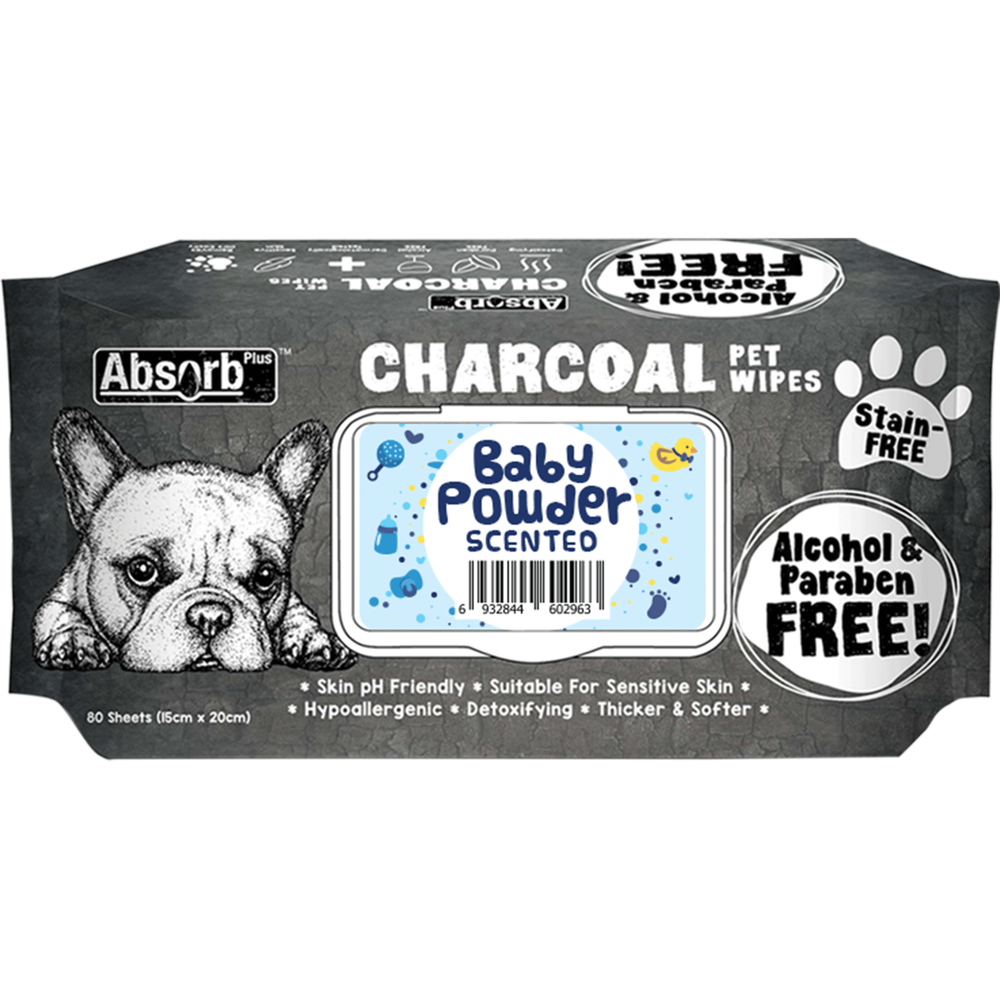 <b>BUY 1 FREE 1: </b> Absolute Absorb Plus Charcoal Baby Powder Scented Anti Bacteria Pet Wipes