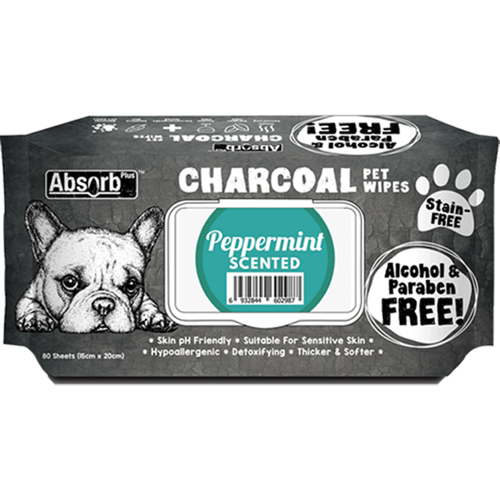 <b>BUY 1 FREE 1: </b> Absolute Absorb Plus Charcoal Peppermint Scented Anti Bacteria Pet Wipes