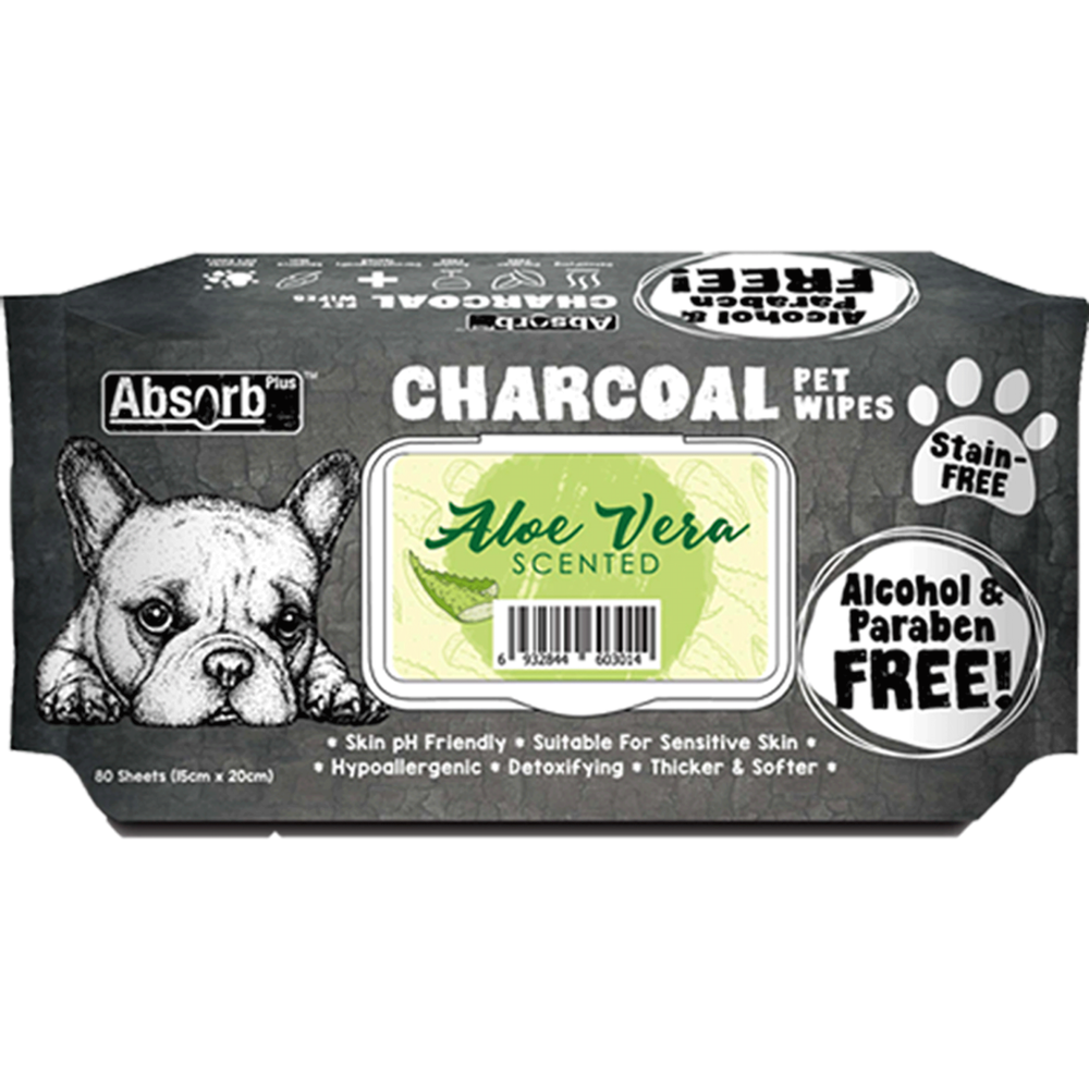 Absolute Pet Absorb Plus Charcoal Aloe Vera Scented Pet Wipes