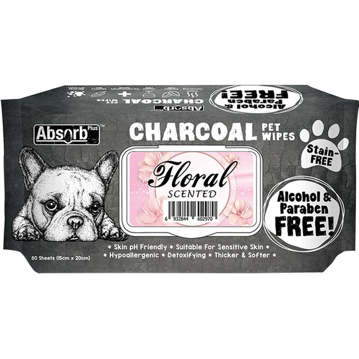 Absolute Pet Absorb Plus Charcoal Floral Scented Pet Wipes