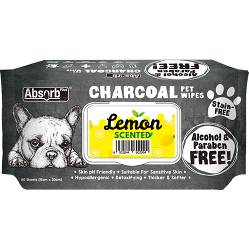 <b>BUY 1 FREE 1: </b> Absolute Absorb Plus Charcoal Lemon Scented Anti Bacteria Pet Wipes