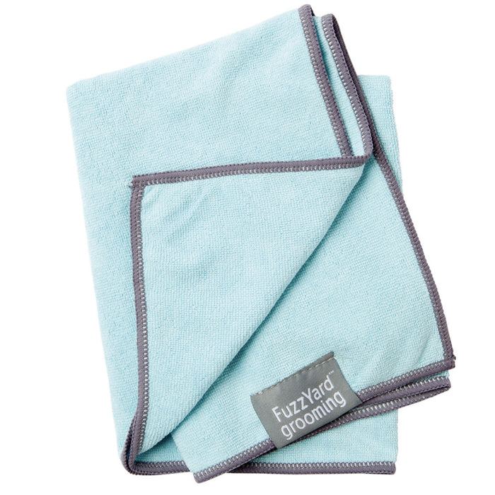 <b>15% OFF:</b> Fuzzyard Microfibre Blue With Grey Trim Drying Towel