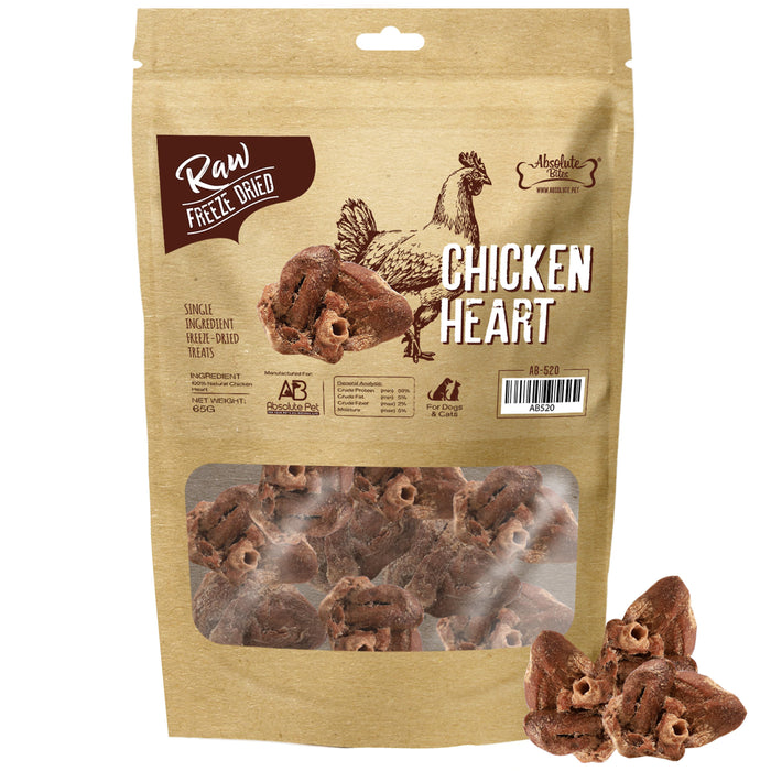 Absolute Bites Freeze Dried Raw Chicken Hearts Treats