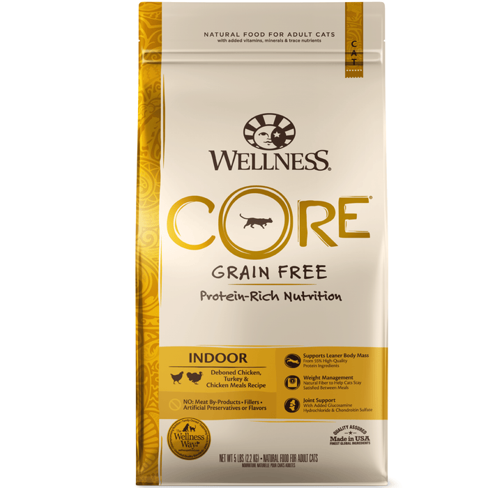 <b>20% OFF:</b> Wellness CORE Grain Free Indoor: Deboned Chicken, Turkey and Chicken Meals Adult Dry Cat Food