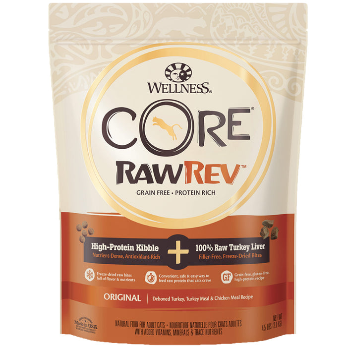 <b>20% OFF:</b> Wellness CORE RawRev Original + 100% Raw Turkey Liver Dry Cat Food