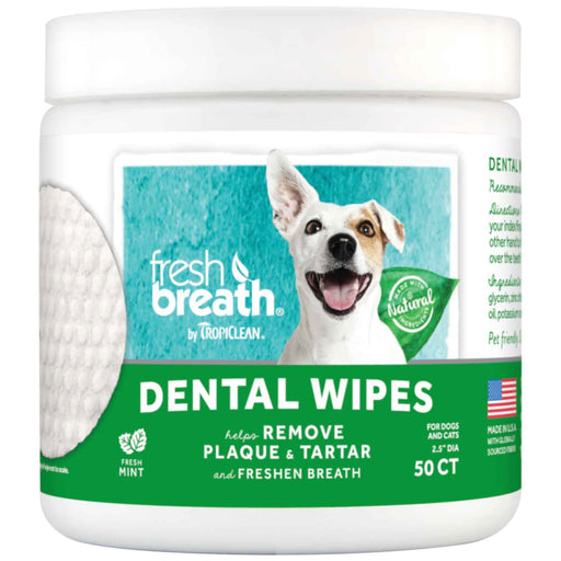 <b>15% OFF:</b> TropiClean Fresh Breath Dental Wipes For Dogs