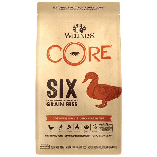 <b> 20% OFF:</b> Wellness CORE SIX Grain Free Cage-free Duck & Chickpeas Recipe Dry Dog Food