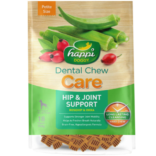 <b>15% OFF:</b> Happi Doggy Hip & Joint Support Rose Hip & Okra Dental Chews